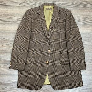 Lanvin Brown & Black Plaid Tweed Sport Coat 40R